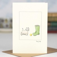 Westie and wellies card