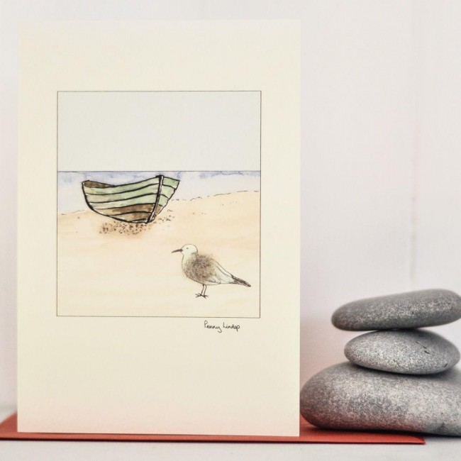 Beach6 - Seagull and Fishing Boat Greeting Card
