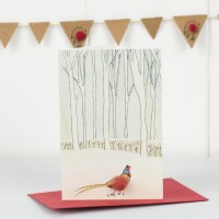 Mini Pheasant and winter trees card