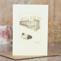 Cat and town garden railings card