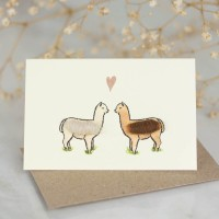 Mini Alpacas in love card