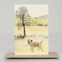 Mini Dog10N - Border Terrier by tree and hillslopes