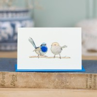 Mini Bird Blue wren card