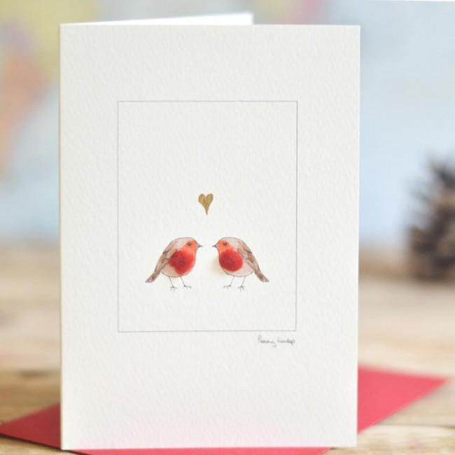 C132 Christmas Robins in love
