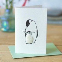 Mini Penguin Mother and chick card