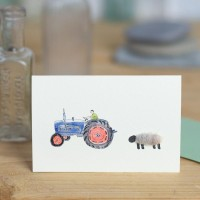 Mini Sheep and Ford tractor card