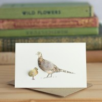 Mini Pheasant and chick card