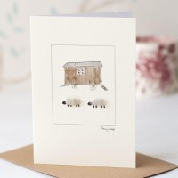 Sheep and Shepherd's hut card