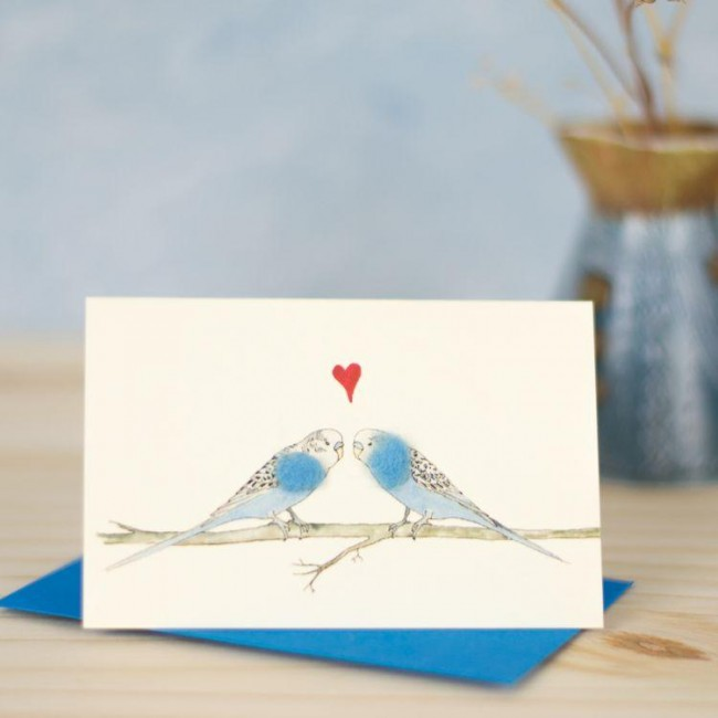 Mini Bird Budgies blue in love card