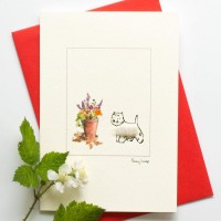 Westie and flowers card
