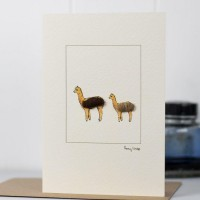 Alpaca Card - Mother and young alpaca