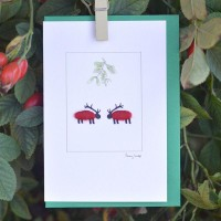 C115 - Sheep Deer Christmas Card
