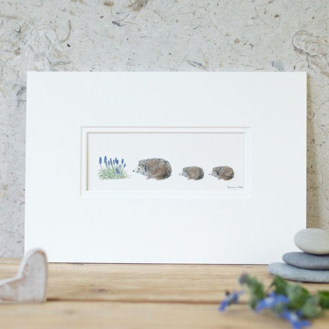 Hedgehogs and flower print
