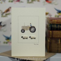 Sheep and Fergie tractor card