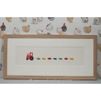 F22A20R - Red Nursery Tractor and Bright Sheep print