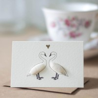 Mini Swans in love card