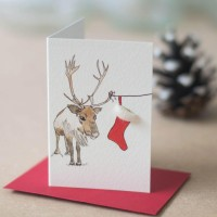 Mini Reindeer and stocking card