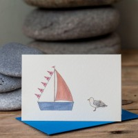 Mini Boat2 - Seagull and sailing boat with Union Jack bunting