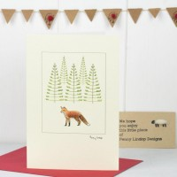 C145 Fox and Trees Christmas Card