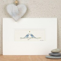 Budgies in a row print