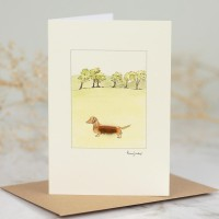Dachshund red by 6 trees card