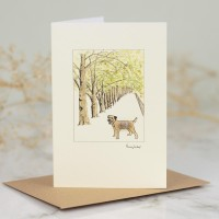 Border terrier in the avenue card