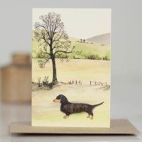 Mini Dachshund by tree and hillslope card