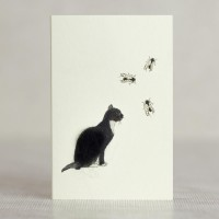 Cat Gift Card - black and white cat watching flies