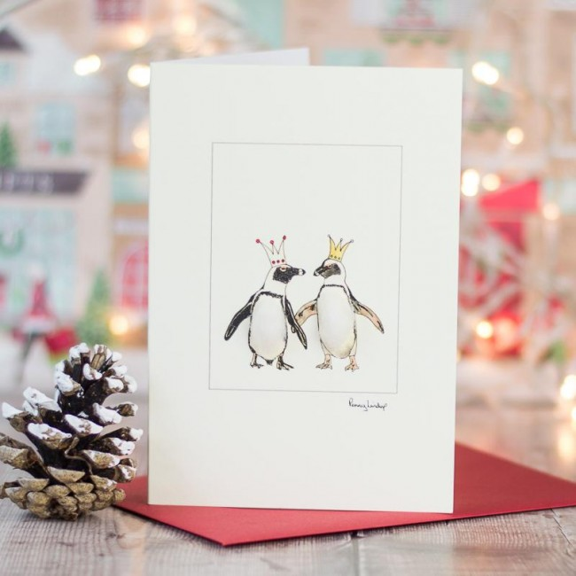 Penguins in crowns Christmas card