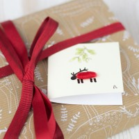 Christmas Gift Tag - Sheep and mistletoe