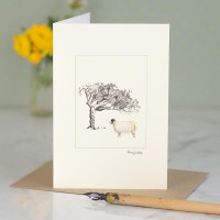 Sheep under tree card