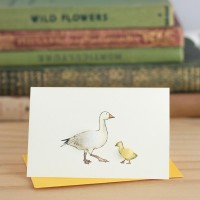 Mini Goose snow and gosling card