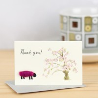 Mini S98 Sheep and tree in blossom Thank You