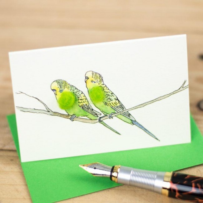 Mini Bird Budgies green card