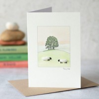 Sheep with a clump of trees card