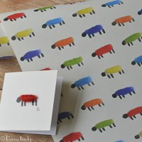 Gift Wrap - Sheep - Bright Colours, 25 loose sheets