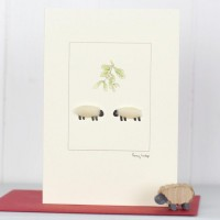 C077 - White Sheep With Mistletoe Christmas Card