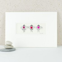 3 pink coloured Fairies print
