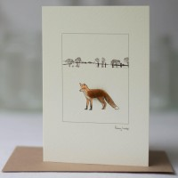 Fox in a landscape card