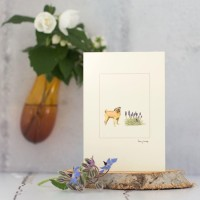 Pug and flowers card