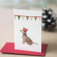 Mini Dog in Christmas party hat card
