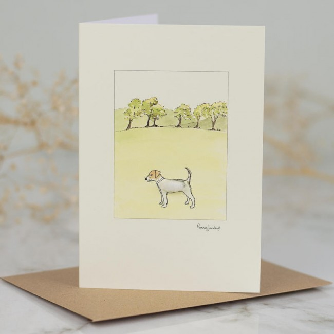 Jack Russell by 6 trees card