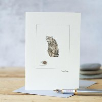 Cat tabby and mouse card
