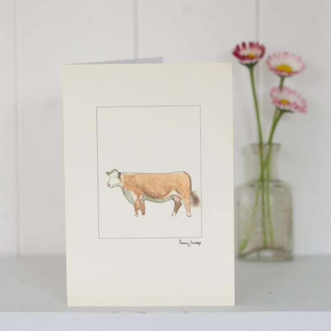 Cow Hereford card - - Farm Animal Cards - Penny Lindop TRADE