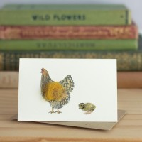 Chickens Gift Card - Gold laced wyandotte & chick