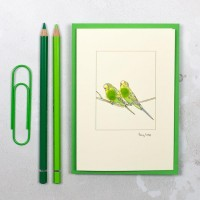 Budgies card - green