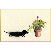 Mini Dog1B - Dachshund With Potted Plant