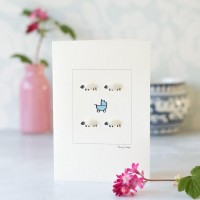 Sheep and Blue pram card