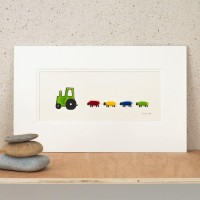 E22A20G - Green Nursery Tractor and 4 Bright Sheep print