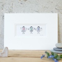 3 pastel coloured Fairies print